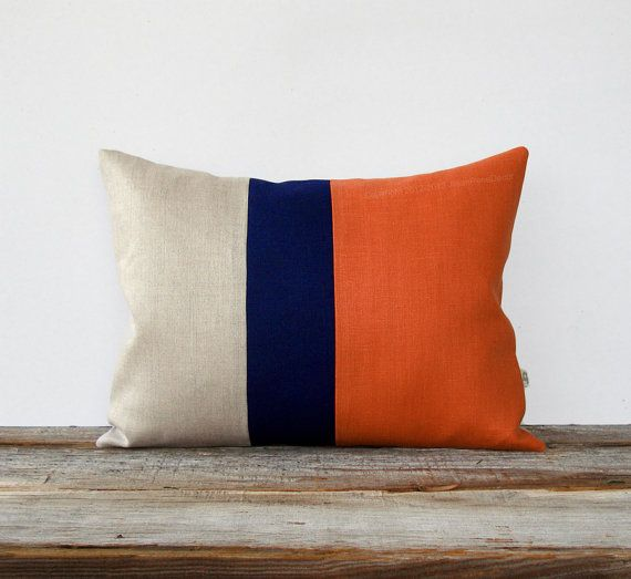 blue and orange pillow - etsy