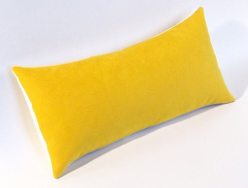 Yellow Ultrasuede Lumbar Pillow @ Etsy