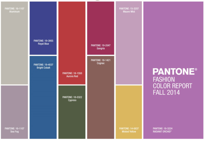 Pantones Fall Color Palette 2014
