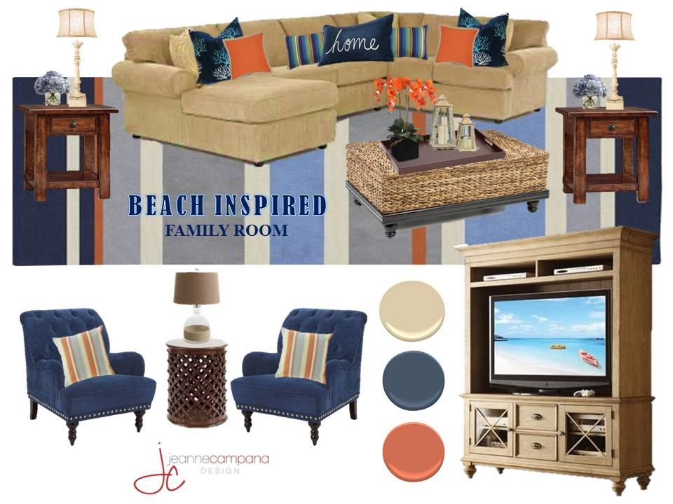 Beach Inspired Family Room