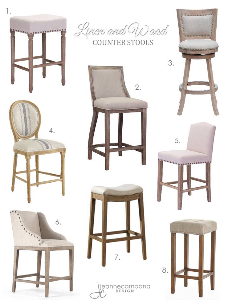 Linen and Wood Stools