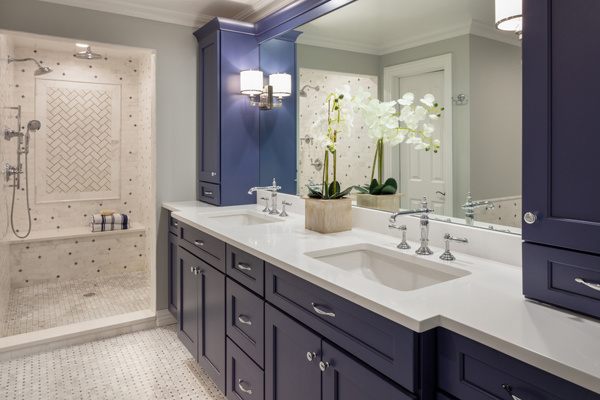 Jeanne Campana Design_Classic Navy Bathroom Remodel